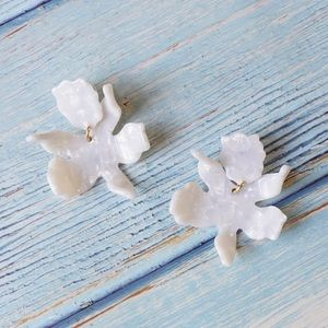 Lele Sadoughi Small Paper Lily Earrings in White